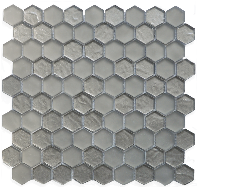 "Chicago, glass mosaics, taupe - 12"" x 12"" - Hexagon"