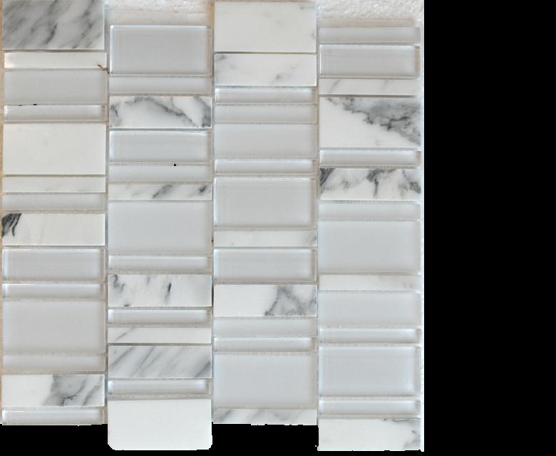 """Links, glass stone mosaics, - 12"""" x 12"""" - Stack - Links - White - Calacatta"""