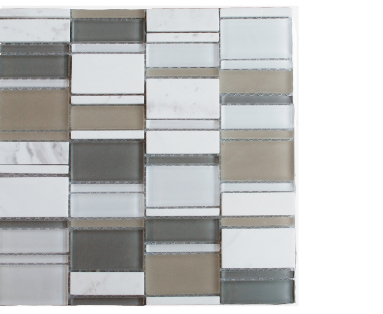 """Links, glass stone mosaics, - 12"""" x 12"""" - Stack - Links - shades of grey"""