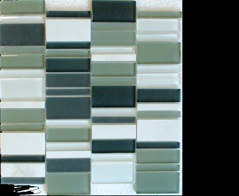 "Links, glass stone mosaics, - 12"" x 12"" - Stack - Links - Earth"