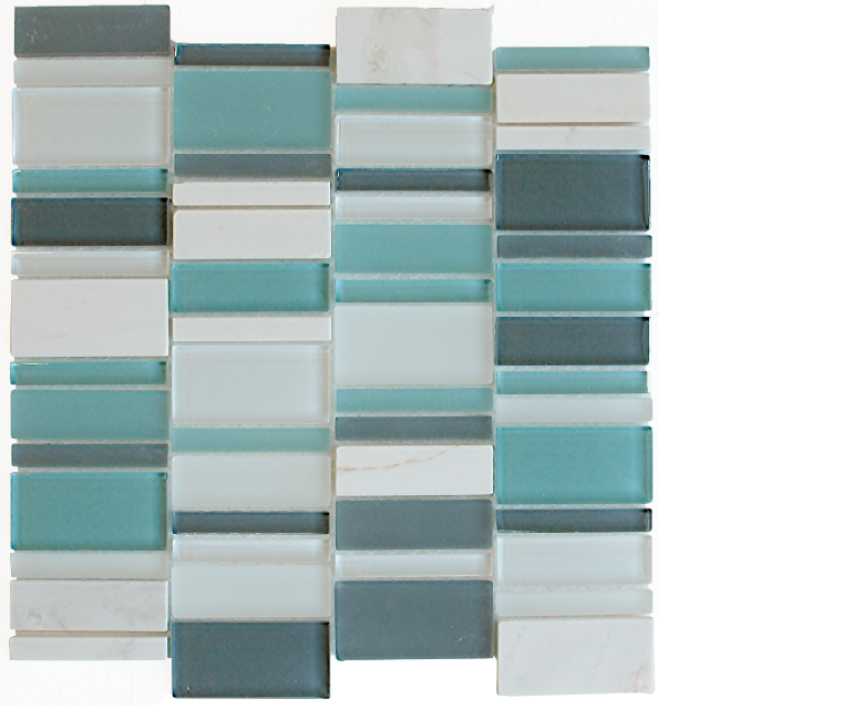 "Links, glass stone mosaics, - 12"" x 12"" - Stack - Links - Blue Sky"