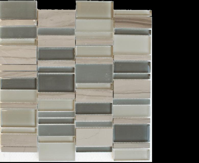 "Links, glass stone mosaics, - 12"" x 12"" - Stack - Links - Cemento"
