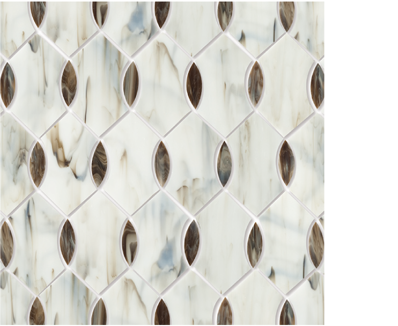 "MMP 102B  glass mosaic - 16"" x 12"" sheet white and brown"