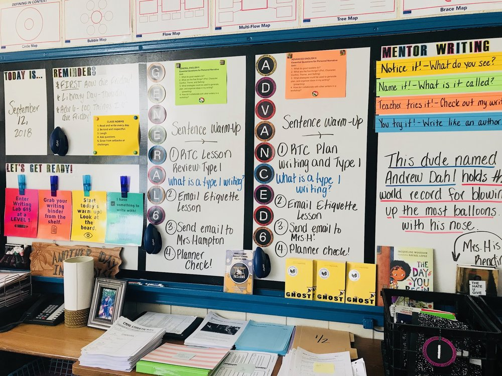 My Board - For students absent, I keep a running list of the work we do with the mentor sentence every day. My board is pictured here.
