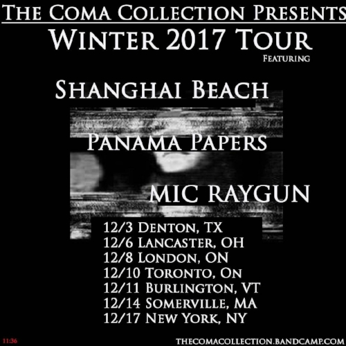 12.1.17  Tour with Shanghai Beach and Panama Papers starts! I love this peeps and look forward to 2 weeks of playing shows and sharing the road from Austin through Ontario and back out to NYC.
