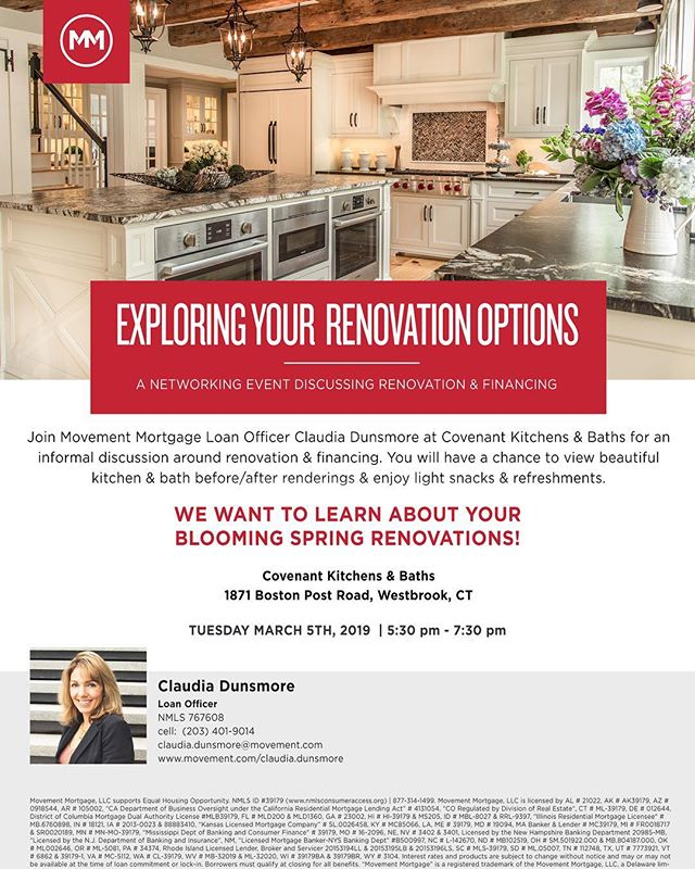 Attention local realtors, contractors, and homeowners! Come join us and @claudiasgrazia of Movement Mortgage on March 5th at 5:30pm for an evening of networking and a discussion on home renovations and financing!   Food and drink will be provided along with a tour of our showroom ✨ All are welcome and please reach out to us with any questions! We look forward to seeing you all there!!