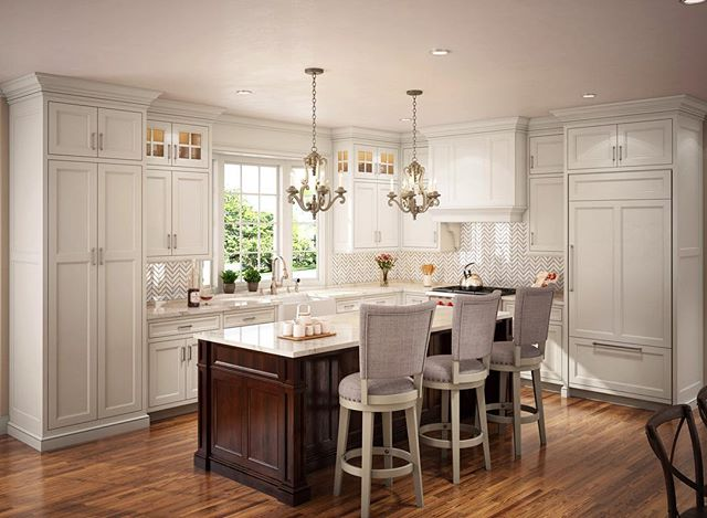 New kitchen project coming soon on a new home with @plansahead!! Cabinetry won't be going in for another couple of weeks but this rendering serves as a great visual to see exactly what the project will look like when all is finished ✨