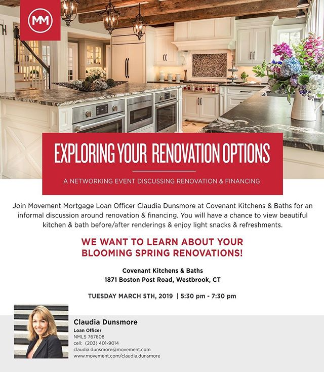 TOMORROW EVENING!! ✨ Any realtors, contractors, or homeowners thinking about home renovations come join us and @claudiasgrazia of @movementmtg at 5:30pm! It will be an evening of food, drinks, networking, and discussing all your renovation and financing options! We hope to see you there 😊