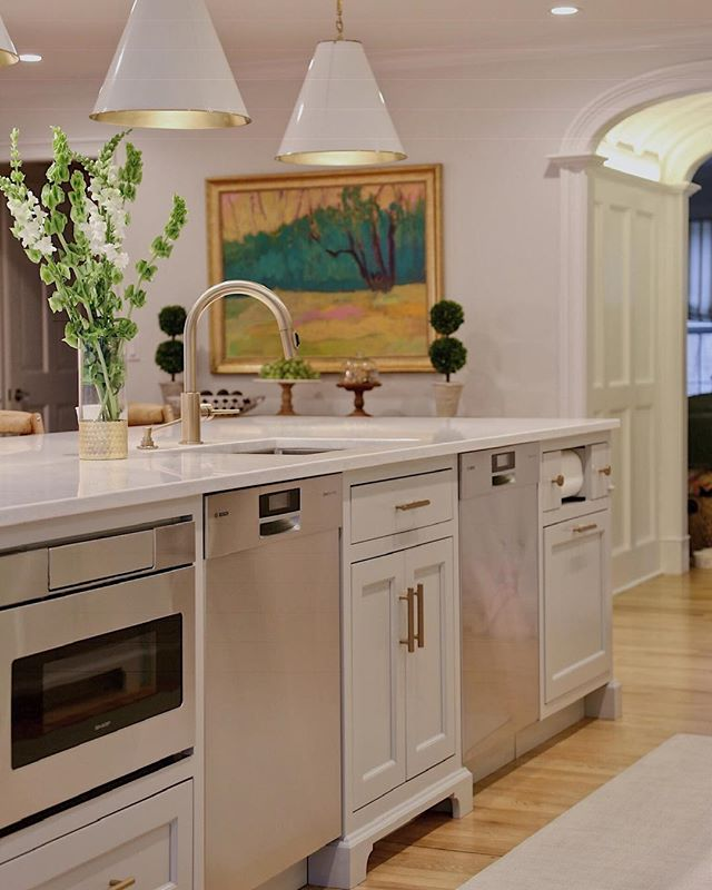 """A """"fully loaded"""" custom kitchen island complete with all the amenities you would need! What cabinetry features or appliances do you want in your kitchen island? Let us know below! ✨"""