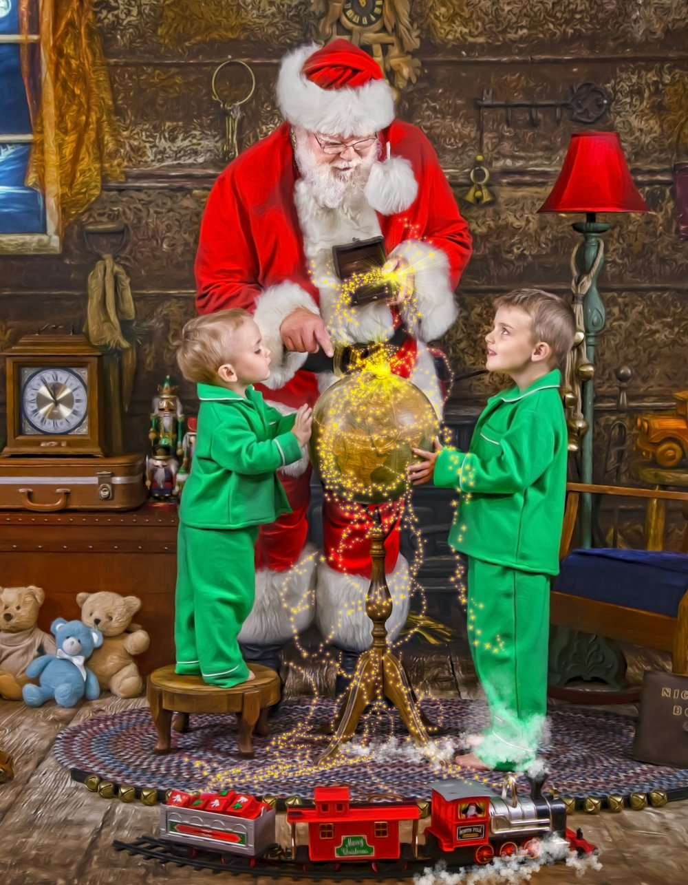 Santa's Storybook Workshop - Santa shows the children exactly where The North Pole is and the children show Santa where they live