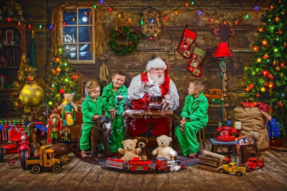 Santa's Storybook Workshop Blue Rock Columbus Ohio Santa sharing magic snow