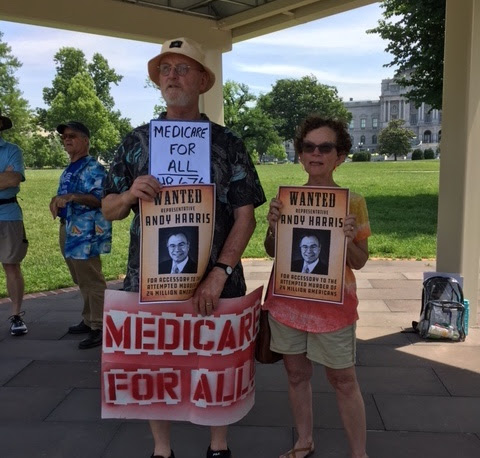 David and Kathy Asher from Cambridge at the health care demonstration in DC last week, from Dorchester Indivisible.Talbot Rising met several other groups at the event.