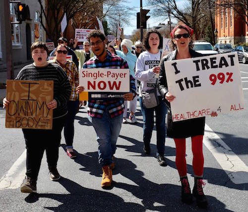 The Campaign for Guaranteed Healthcare is calling for a week of action. They will be holding a rally at Andy Harris' Salisbury Office on Wednesday. More info: campaignforguaranteedhealthcare.org