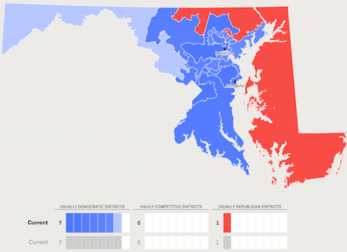 MARYLAND IS A BATTLEGROUND STATE IN 2018  because of the importance of redistricting, and is a focus of efforts by both national party organizations. Image Source: fivethirtyeight's  The Atlas Of Redistricting .