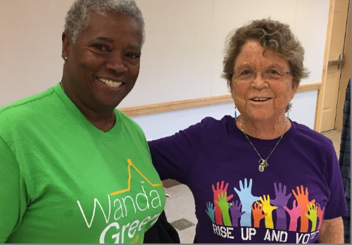 Wanda Green (left), who is running for Talbot County Sheriff, came to our general meeting Saturday to talk about her experience working for the sheriff's department for 35 years. She retired earlier this year as a lieutenant.