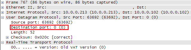 Initial RTP packet sent by the OCS Mediation server to port 0
