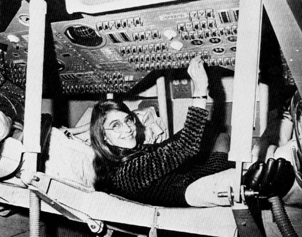 Margaret Hamilton in an Apollo command module (Credit: NASA)