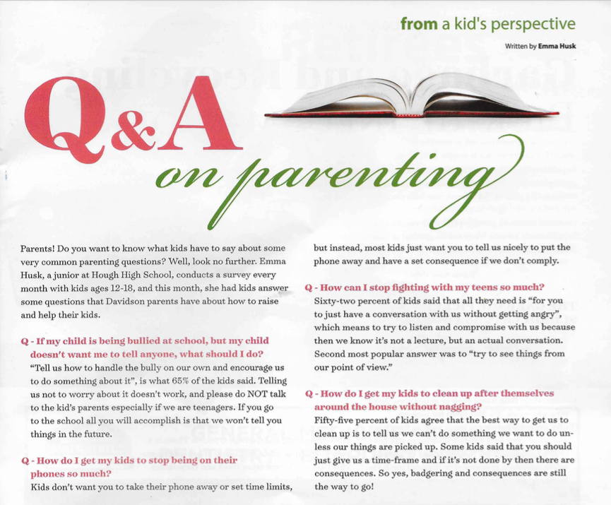 Questions from Parents