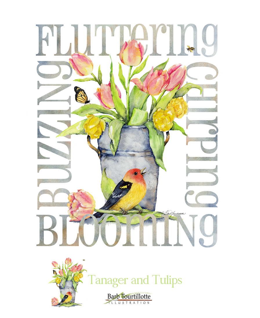 tanager and tulips .jpg