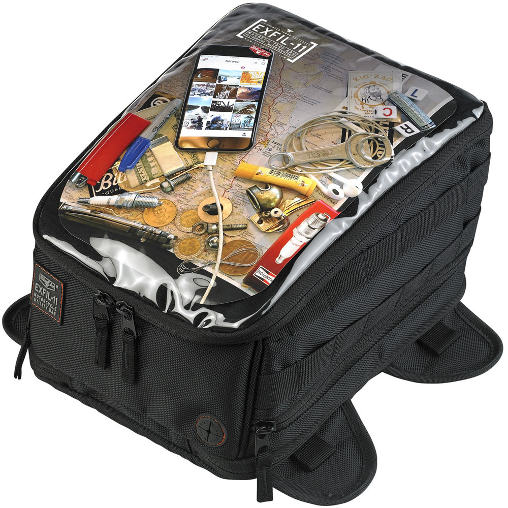 The EXFIL-11 is built with the daily rider in mind. It secures with 4 battle tested magnets and can easily be installed and removed from the motorcycle without any straps or bungees to fuss with. Built with H-Ds in mind, this bag has expanding baffles on the bottom sides to allow it to drape over dash panels found on many Dynas, FXRs & Softtails. A clear, touch friendly panel on the top of the bag acts as a good place for navigation via mobile phone. MSRP: $129.95