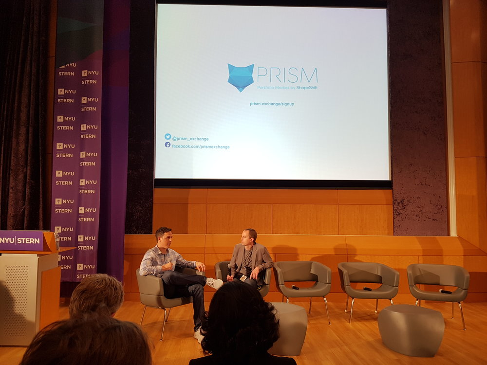 Fireside chat with ShapeShift Eric Voorhees. Announcing PRISM, Portfolio management platform for crypto assets.