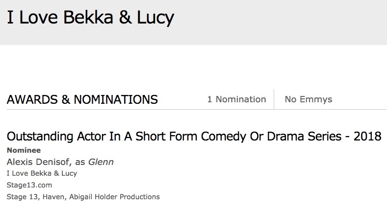 WE GOT NOMINATED FOR AN EMMY! - Please vote for Alexis, he is the kindest and most generous actor and friend.