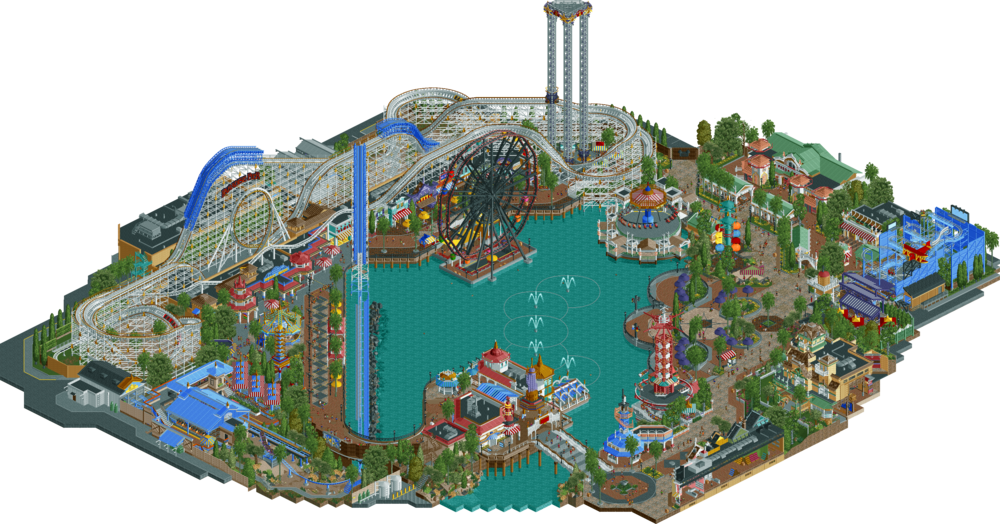 Rollercoaster Tycoon images via RCT Wikia and NEDesigns