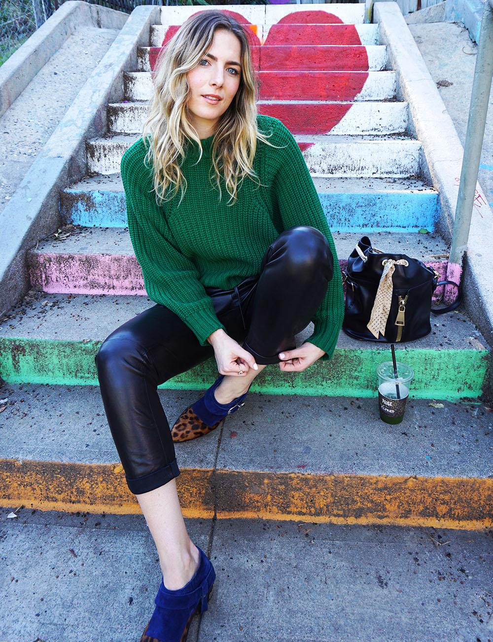 leathertrackpants-athleisure-kimberlyrabbit-greenknitsweater.jpg