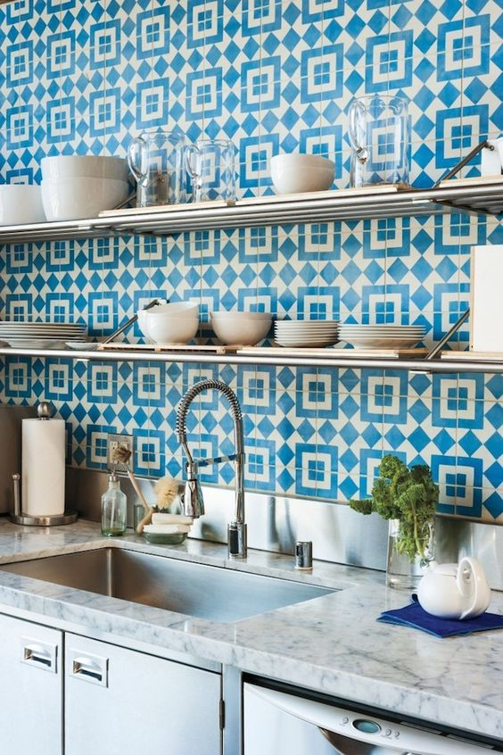 This bright blue statement tile is one I have loved for years! Many of you will recognize it from the hip LA coffee shop,  Intelligentsia . This is the tile used for their flooring from indoor to outdoor at the Silver Lake location and is pure FUN. You gotta comitt if you're gonna use this tile!