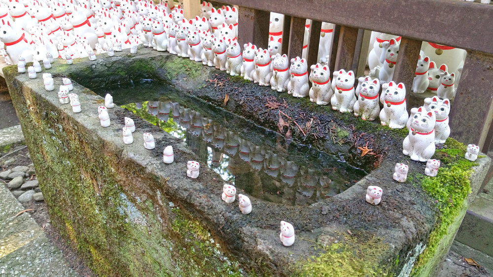 Seemingly thousands of Maneki-neko statues, many of them dirty and worn by the weather, greet visitors at Gotokuji Temple, Setagaya Japan.