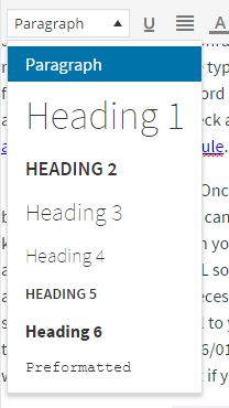 Headings tags range from Heading 1 to Heading 6. (Most important to least important.)