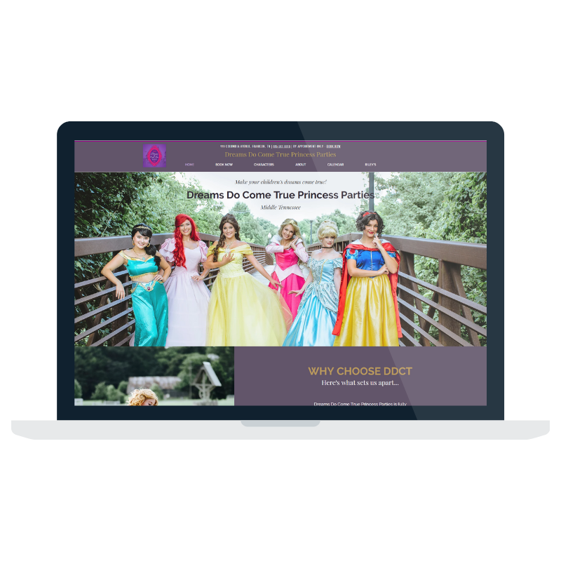 Dreams Do Come True Princess Parties Website Designed by Mill Creek Creative