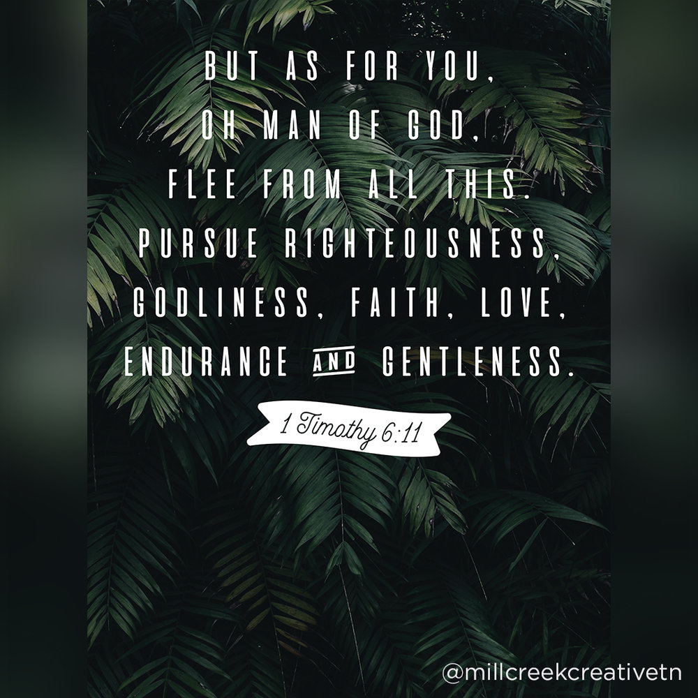 1 Timothy 6:11 Posters | Mill Creek Creative