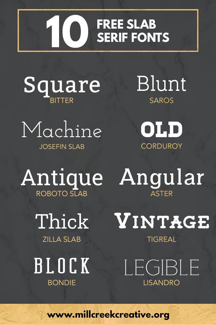 10 Free Slab Serif Fonts | Mill Creek Creative