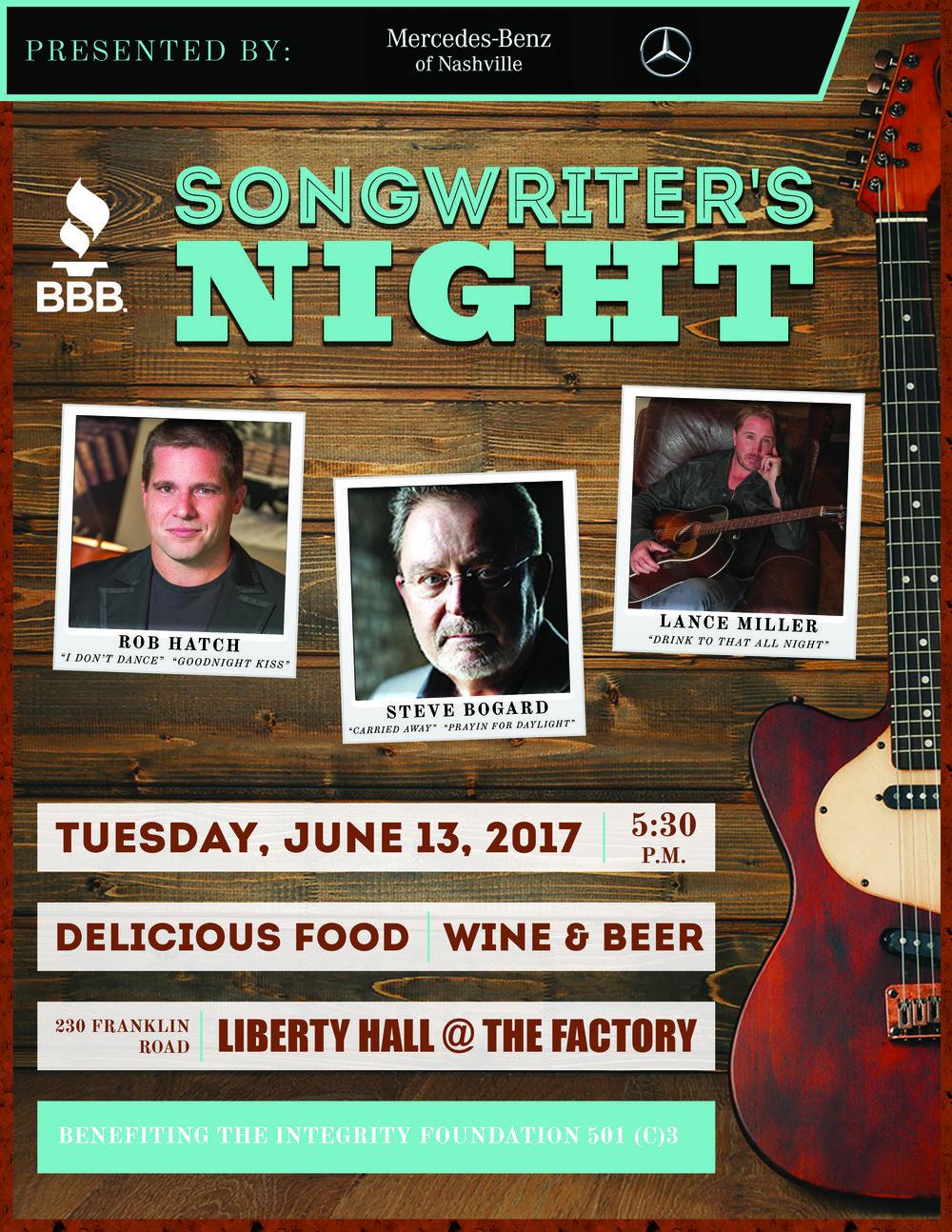 2017 BBB Songwriter's Night Flyer