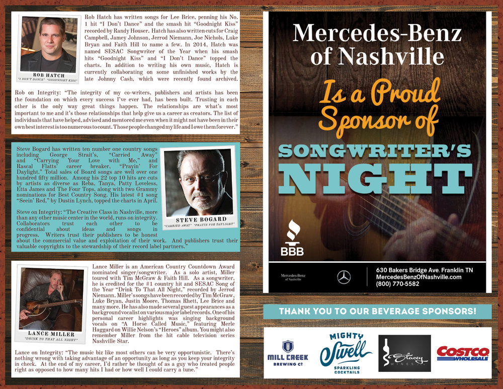 BBB Songwriters Night Program Inside