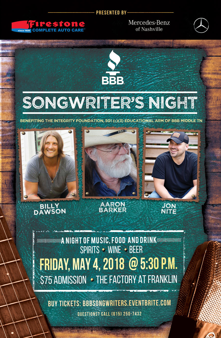 2018 BBB Songwriter's Night Flyer