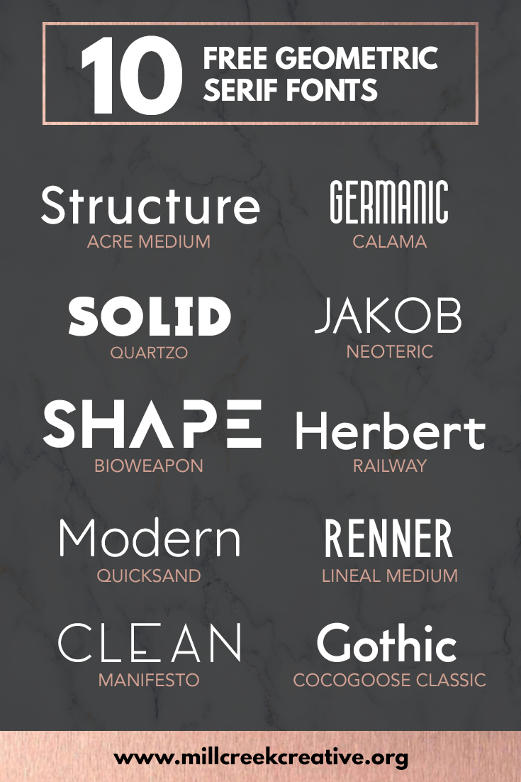 10 Free Geometric Fonts — Mill Creek Creative
