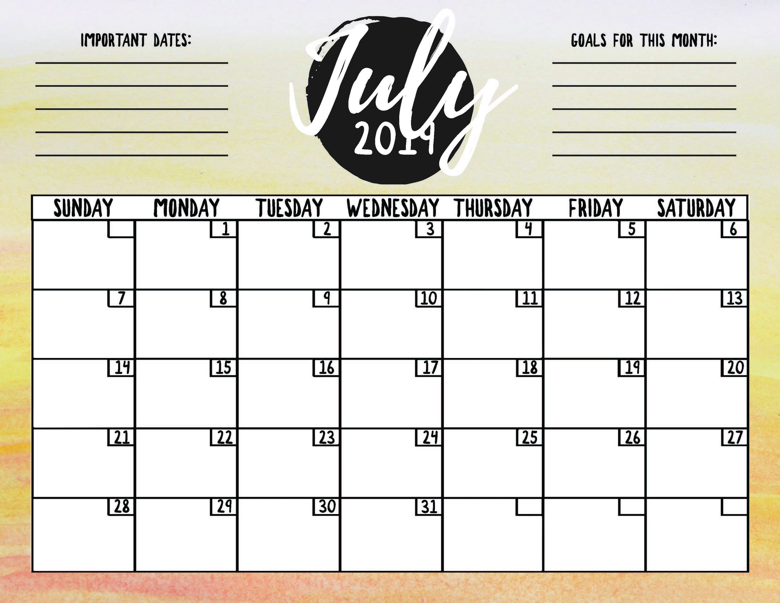 photograph relating to Free Printable July Calendar referred to as Free of charge Printable July Calendar Mill Creek Innovative