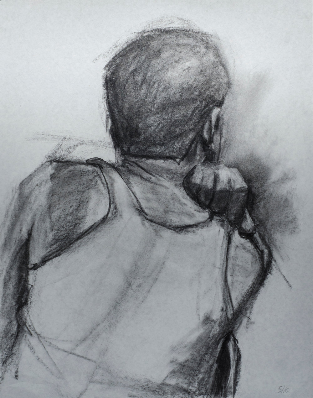 charcoal on paper 36 x 30 in.  91 x 76 cm