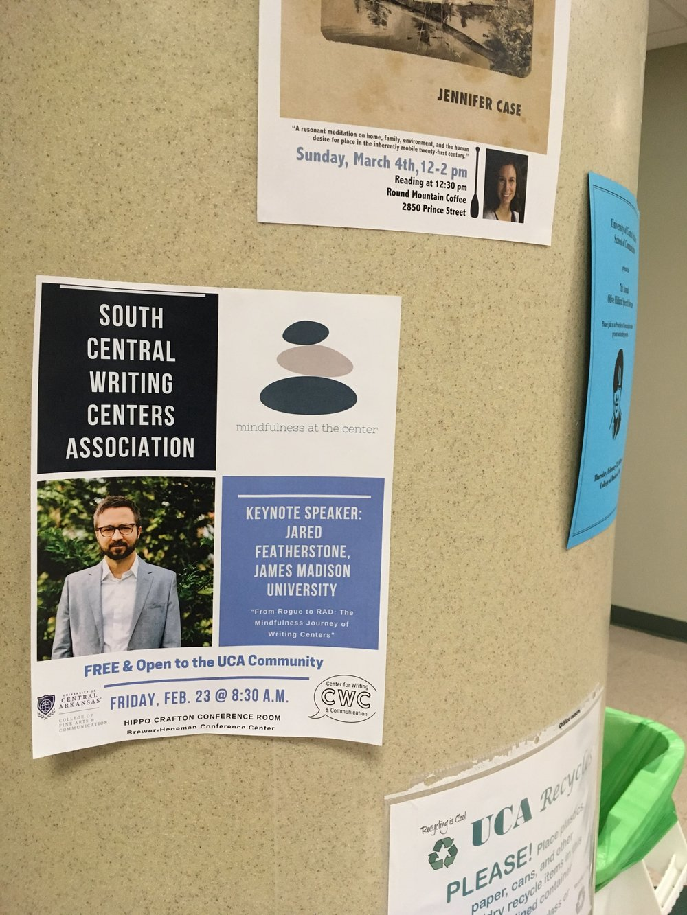 """Keynote Speaker:  2018 South Central Writing Centers Association Conference at the University of Central Arkansas. Talk title: """"From Rogue to RAD: The MIndfulness Journey for Writing Centers."""""""
