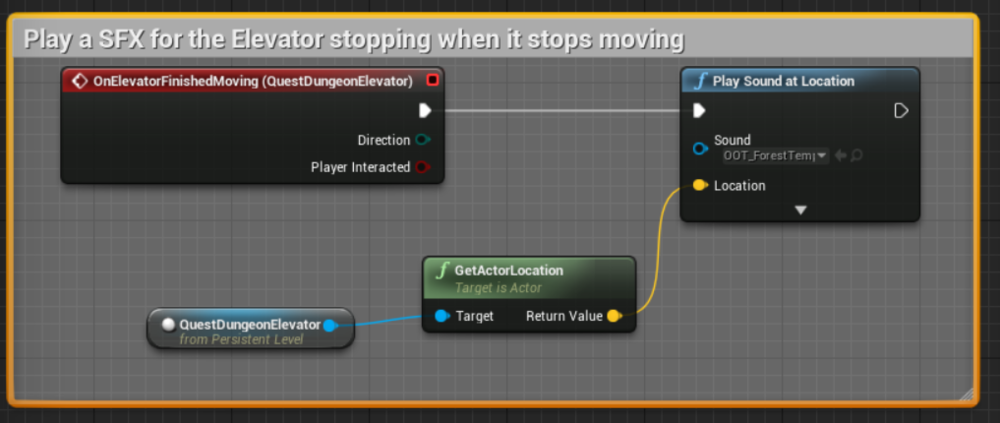 Blueprint for the Elevator's stop SFX