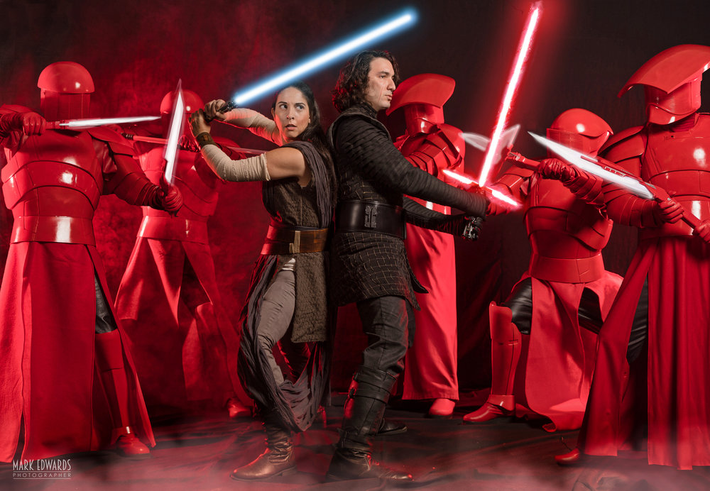 Photo credit: https://markvfx.com/  Star Wars Rey & Ben versus the Praetorian Guards - Last Jedi Photoshoot featuring Jonathan K, William G, Daniel S, Natalie L, and John R.