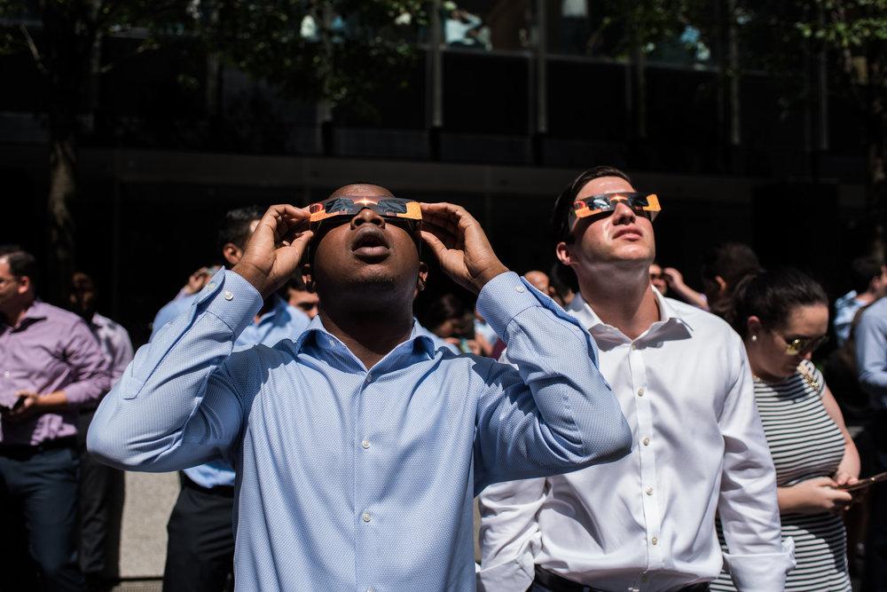Watching the eclipse in Manhattan