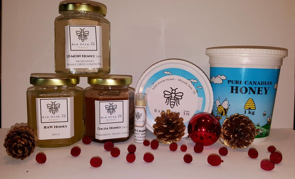 Bar Over 3H Honey - Bar Over 3H Honey is back this year!Raw Honey, Flavoured honey like cocoa honey and Lemon Honey!Beeswax candles and chapsticks too!Welcome back !