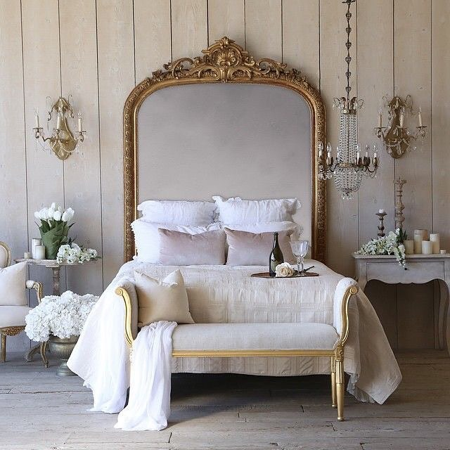 ORNATE MIRROR - Love the antique feel of an old french mirror, in brass. Seen here the ornate mirror used as a headboard to create the timeless feel of a rustic grandeur. If you love this European vintage look, @eloquenceinc is one to follow!