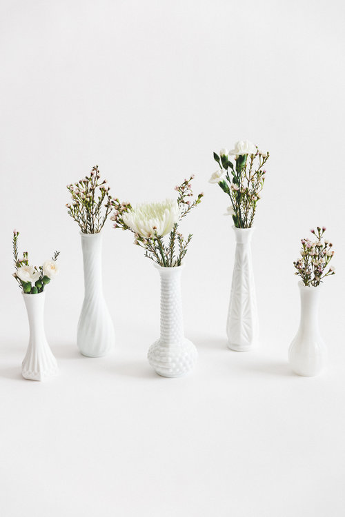 Milk Glass Vases Something Borrowed Wedding Rentals