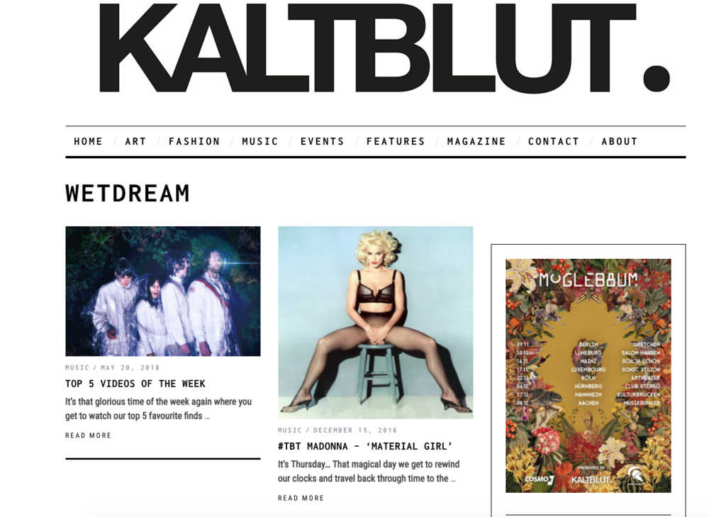 KALTBLUT PREMIERE - TOP 5 VIDEOS OF THE WEEK  (GERMANY'S LEADING INDIE PRINT/ ONLINE MAGAZINE for ART, FASHION, MUSIC. MADE IN BERLIN)
