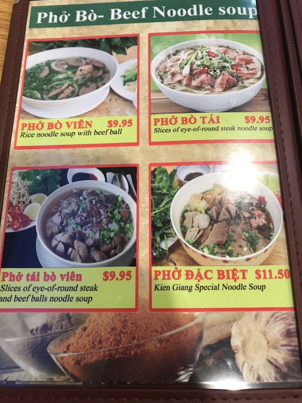 Kien Giang Quan's Beef Noodle Menu