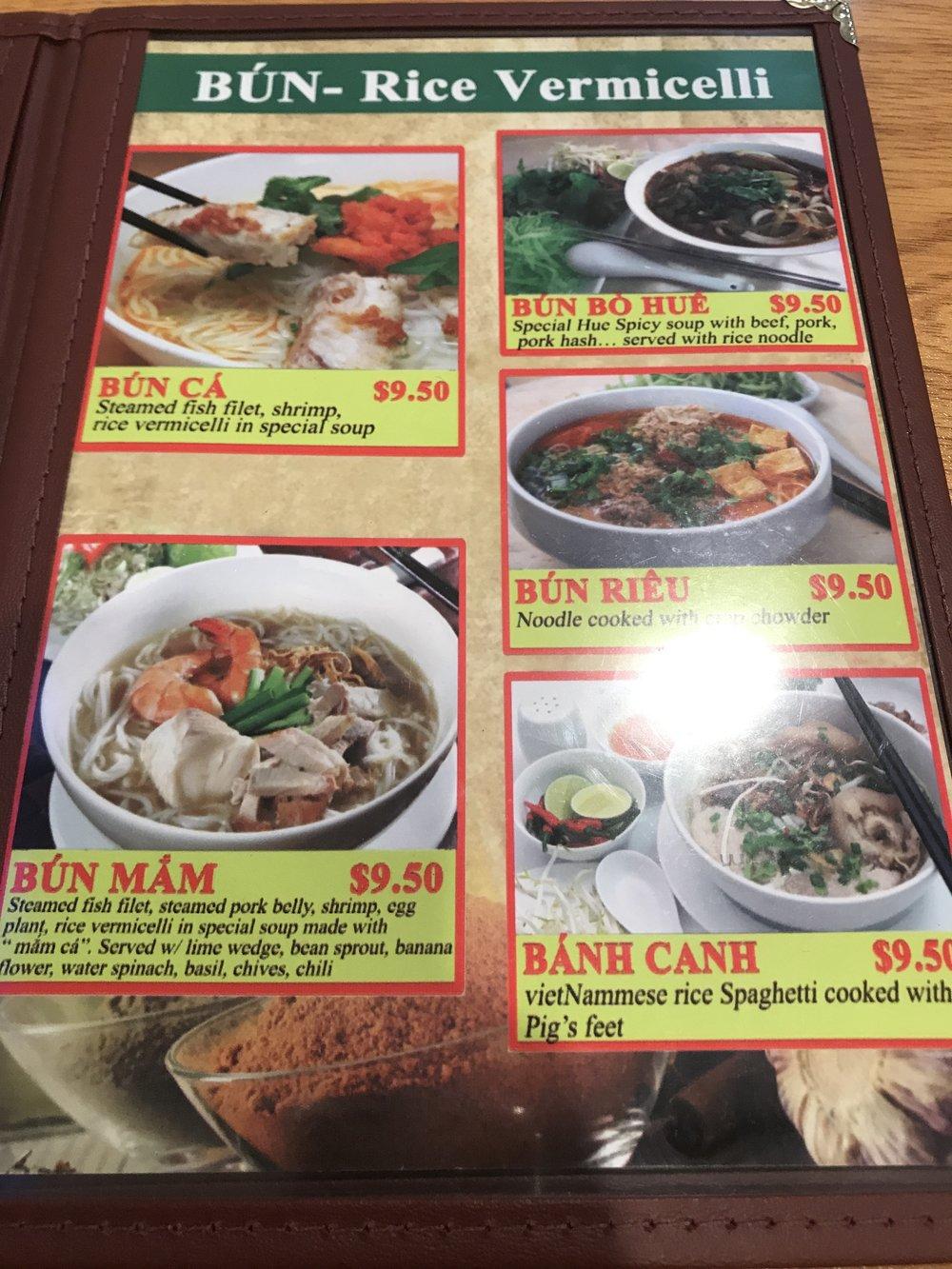 Kien Giang Quan's Rice & Rice Vermicelli Menu